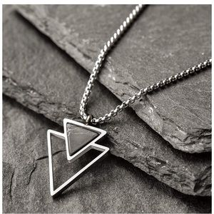 Men's Handmade Geometric Triangle Necklace